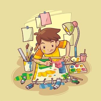 Un garçon peint sur papier à l'aide d'une illustration dessinée à la main