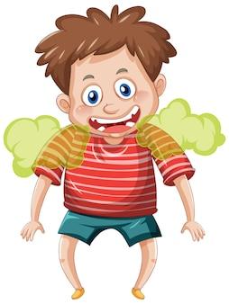 Un garçon avec un personnage de dessin animé de mauvaise haleine