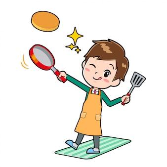 Garçon de personnage de dessin animé mignon, cuisiner hotcake