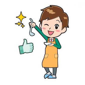 Garçon de personnage de dessin animé mignon, cuisinier délicieux