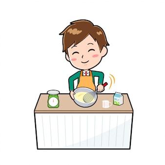 Garçon de personnage de dessin animé mignon, mélange de gâteau de cuisine