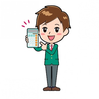 Garçon de personnage de dessin animé mignon, point de calculatrice
