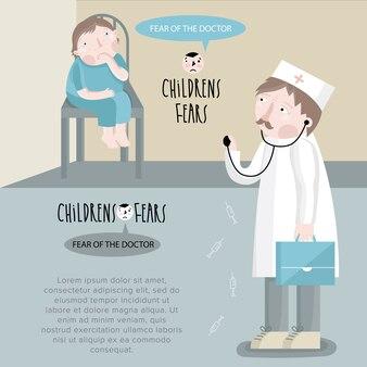 Garçon peur du docteur illusration