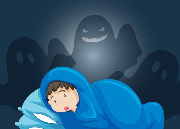 Un garçon peur de fantôme