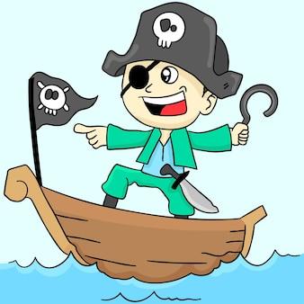 Garçon pirate agit. autocollant mignon illustration de dessin animé