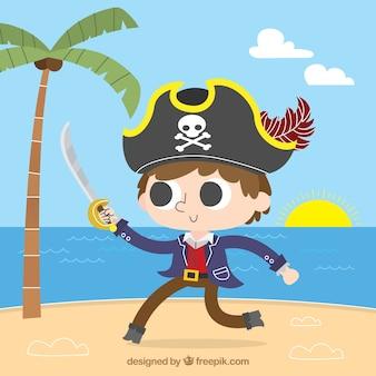 Garçon pirate avec fond d'épée