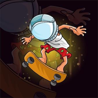 Le garçon de planche à roulettes et utilisant le casque d'astronaute d'illustration