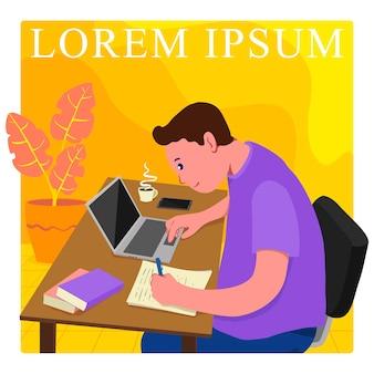 Un garçon plat étudie dur avec un ordinateur portable et du café dans la table