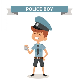 Garçon de police avec signe isolé