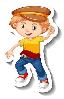 Un garçon portant un autocollant de personnage de dessin animé de chapeau