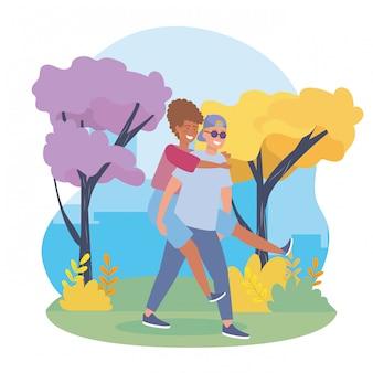 Garçon portant le couple fille à l'arrière avec des vêtements décontractés