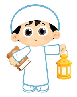 Garçon portant la lanterne du ramadan