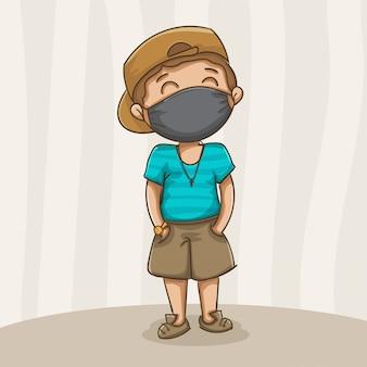 Garçon portant un masque