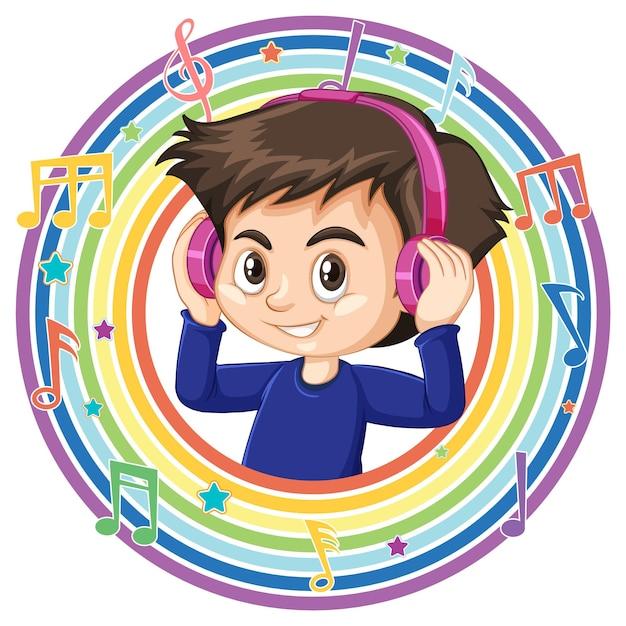 Le garçon porte un casque dans un cadre rond arc-en-ciel avec des symboles de mélodie