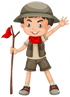 Garçon, porter, safari, équipement, isolé