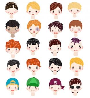 Garçon, portrait, vecteur, enfants, caractère, figure, de, type, à, coiffure masculine, et, dessin animé, homme, personne