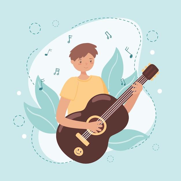 Garçon pratiquant avec guitare