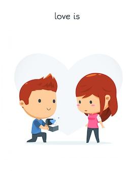 Un garçon propose la fille
