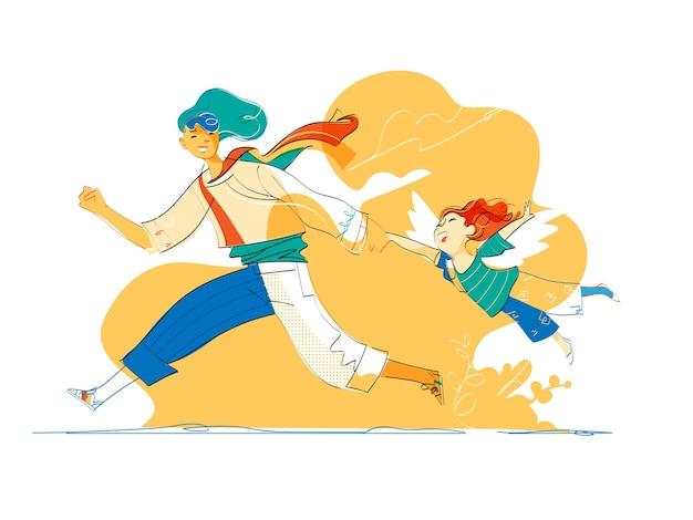 Un garçon qui court avec un petit enfant avec des ailes