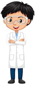 Garçon en robe de science sur fond blanc