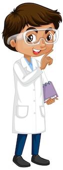 Garçon en robe scientifique sur blanc