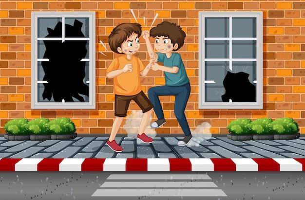 Garçon de rue se battant en ville