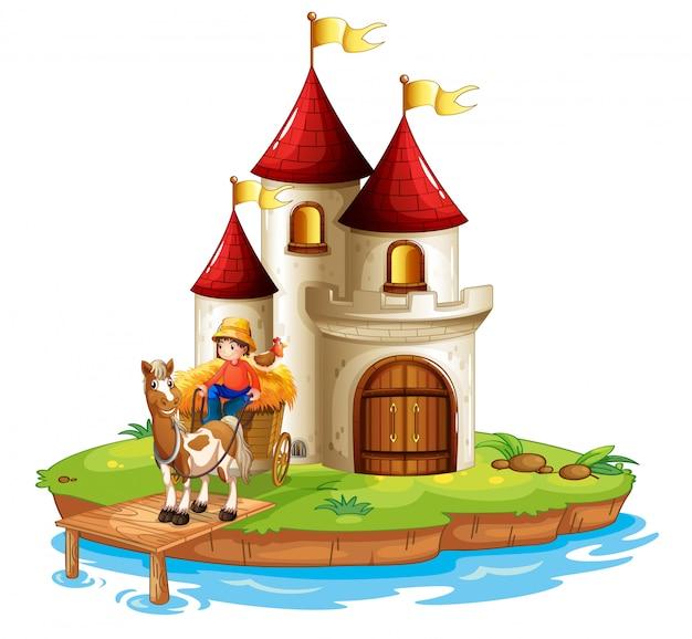 Un garçon et sa charrette devant un château