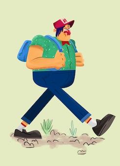 Garçon avec un sac à dos marchant illustration