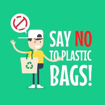 Le garçon avec un sac fourre-tout. dites non aux sacs en plastique.