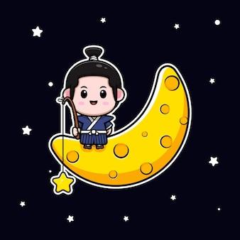Garçon samouraï mignon assis sur la lune et attrapant l'illustration de la mascotte étoile