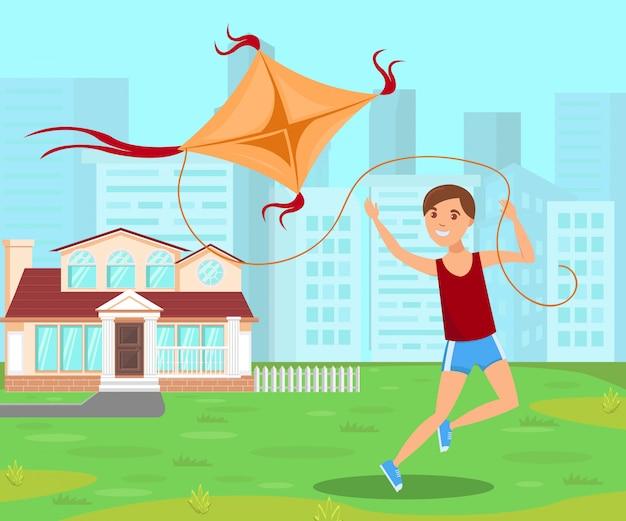 Garçon sautant avec un cerf-volant