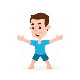 Garçon sautant, faisant des exercices - style de personnage plat, dessin animé.