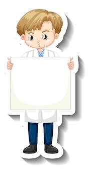 Garçon scientifique tenant un autocollant de personnage de dessin animé de plateau vide