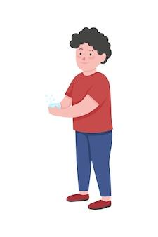 Garçon se laver les mains caractère plat couleur sans visage désinfection du virus hygiène personnelle pour enfants illustration de dessin animé isolé de soins de santé