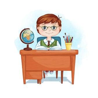 Un garçon sérieux avec des lunettes est assis à un bureau.