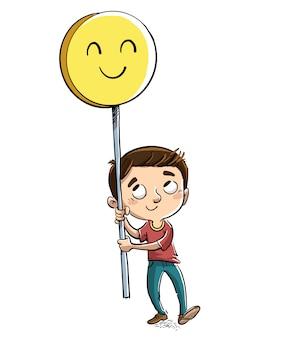 Garçon avec signe de visage heureux