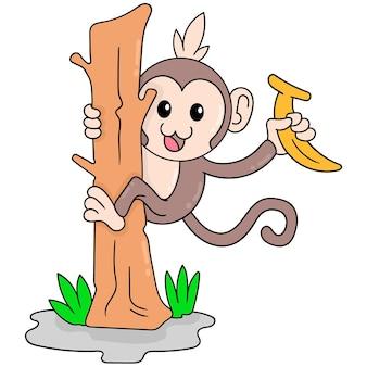 Un garçon singe mignon escaladant un tronc d'arbre ramassant une banane, art d'illustration vectorielle. doodle icône image kawaii.