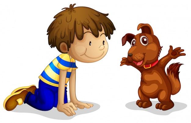 Un garçon et son animal de compagnie marron