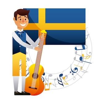 Garçon suédois de milieu de l'été avec une musique de guitare heureux