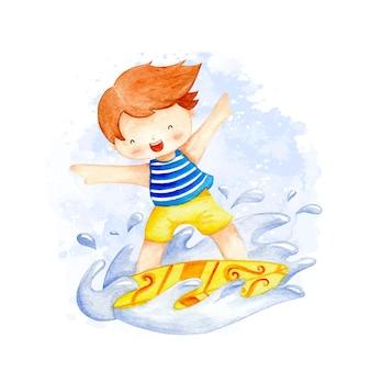Garçon de surf aquarelle