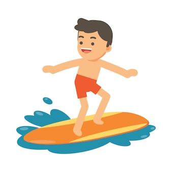 Garçon surfant sur une vague bleue
