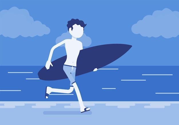 Garçon de surfeur sur une plage