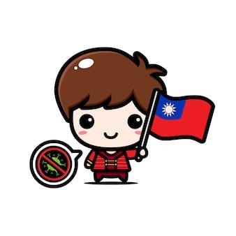 Garçon de taiwan avec le drapeau contre le virus