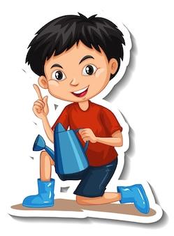 Un garçon tenant un arrosoir autocollant de personnage de dessin animé