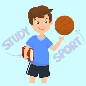 Garçon tenant un ballon de basket et un livre