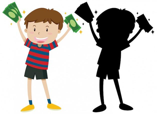 Garçon tenant des billets en couleur et silhouette