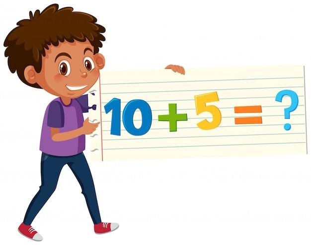 Un garçon tenant une carte de question mathématique