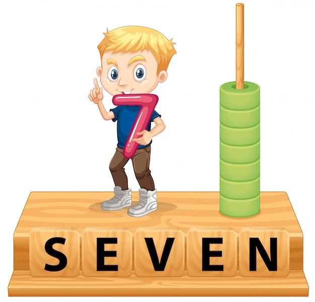 Un garçon tenant le numéro sept