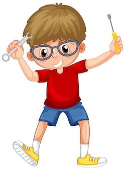 Un garçon tenant des outils à main sur fond blanc