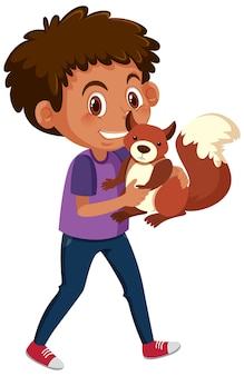 Garçon tenant le personnage de dessin animé animal mignon isolé sur fond blanc